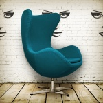 blue egg chair arne jacobsen design vintage