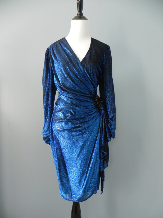 vintage disco blue dress on esty