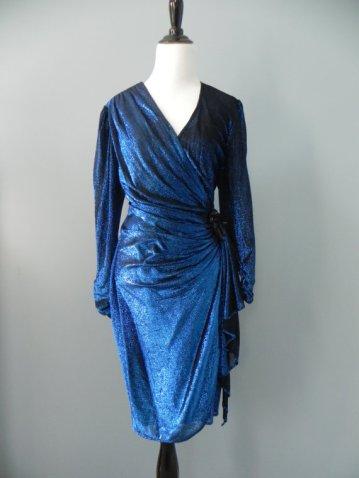 vintage disco blue dress on esty