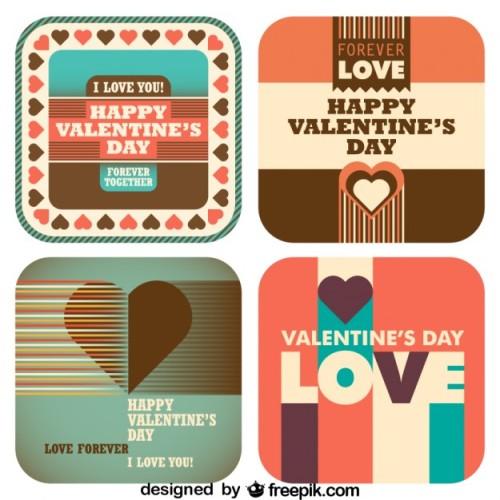 4 modèles de cartes à télécharger de Saint-Valentin au look rétro.